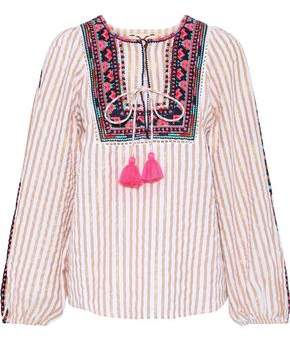 Figue Caraiva Tie-front Embroidered Striped Cotton-blend Blouse