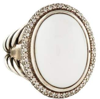 David Yurman White Agate & Diamond Signature Ring