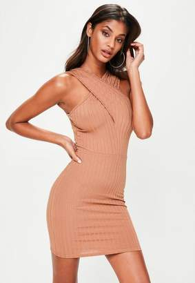 Missguided Brown Ribbed Cross Over Mini Dress