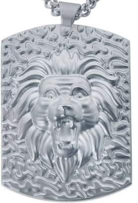 AMERICAN STEEL American Steel Jewelry Men's Stainless Steel Lion Head Dog Tag with Chain