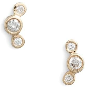 Chicco Zoe Curved 3-Diamond Stud Earrings