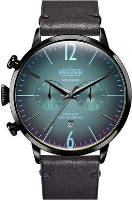 Welder Men Black Leather Strap Watch 45mm