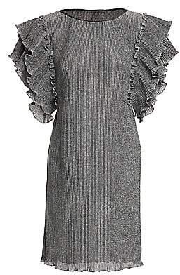 Alberta Ferretti Women's Flutter-Sleeve Metallic-Knit Dress