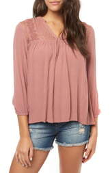 O'Neill Mara Lace Yoke Top
