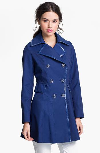 Via Spiga Patent Trim Trench Coat (Regular & Petite) (Online Only)