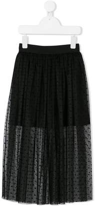 Dondup Kids polka dot tulle layered skirt