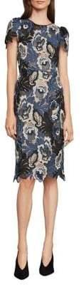 BCBGMAXAZRIA Tri-Tonal Lace Sheath Dress