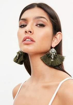Missguided Diamante Detail Tassel Earrings