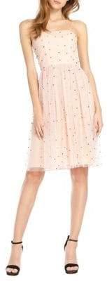 ML Monique Lhuillier Sleeveless Beaded Mesh Dress