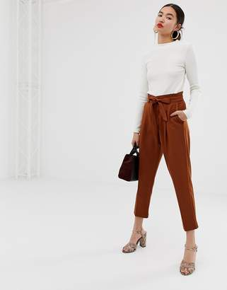New Look tie waist tapered trouser in rust