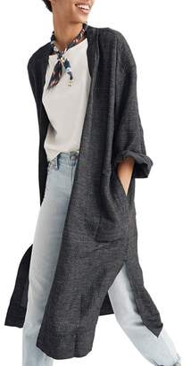Madewell Grid Long Linen Blend Jacket