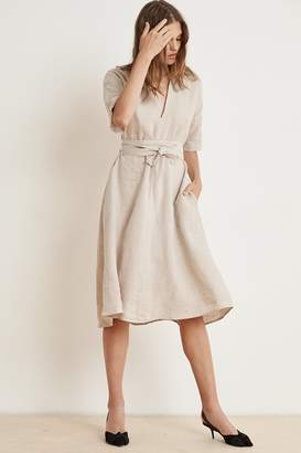 Velvet by Graham & Spencer WINLEY WOVEN LINEN SHORT SLEEVE BELTED DRESS