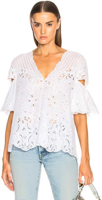 Jonathan Simkhai Scallop V Neck Top