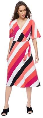 Principles Dark Peach Printed Jersey V-Neck Midi Wrap Dress