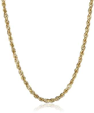 Men's 14k Yellow Gold Solid Diamond-Cut Rope Chain Necklace (2.5mm)