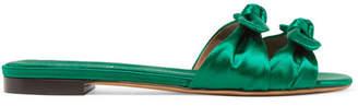 Tabitha Simmons Cleo Bow-embellished Satin Slides - Emerald