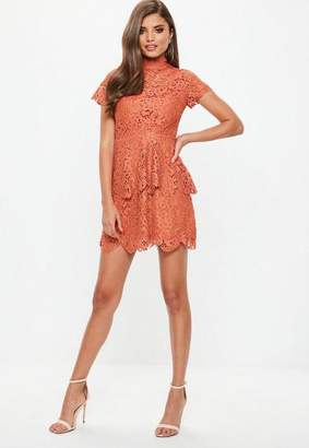 Missguided Orange Short Sleeve Lace Double Layer Skater Dress