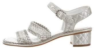 Chanel Metallic Braided Sandals