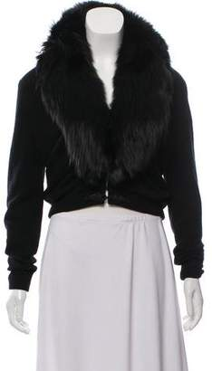 Fur Fur Trim Knit Cardigan