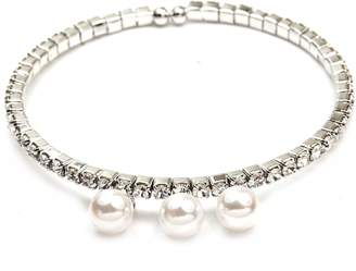 Crystal Pearl FC White Gold Plated Diamante Imitation Cuff Wrap Charms Tennis Bangle Bracelet