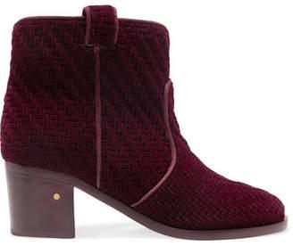 Laurence Dacade - Mikki Herringbone Velvet Ankle Boots - Burgundy $840 thestylecure.com