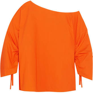 Tibi One-shoulder Cotton-poplin Top - Orange