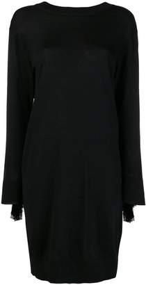 Nude fringe detail sweater dress