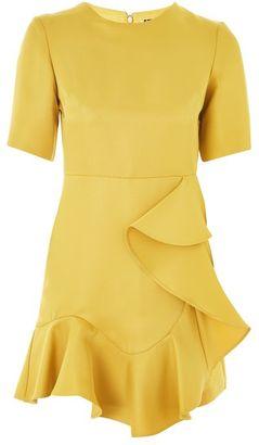 Topshop Frill front satin mini dress
