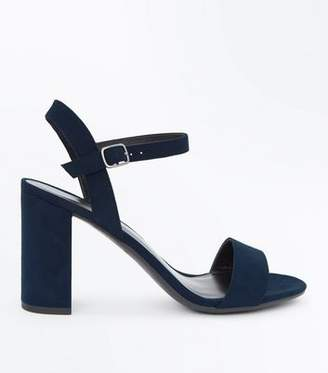 New Look Navy Suedette Block Heel Sandals