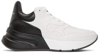 Alexander McQueen White and Black Oversized Runner Sneakers