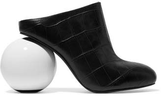 Sawyer Croc-effect Leather Mules - Black