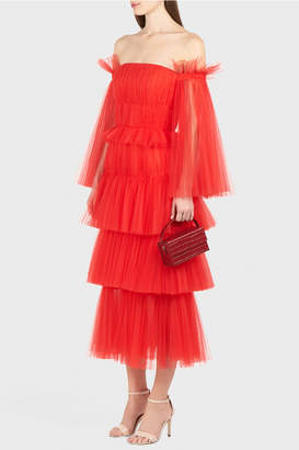 Carolina Herrera Off Shoulder Tulle Dress
