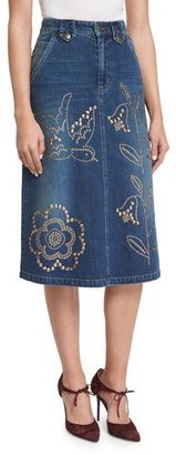 RED Valentino Grommet-Embellished Denim Skirt, Denim $795 thestylecure.com