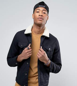 Asos TALL Denim Jacket With Fleece Collar In Black Wash
