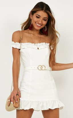 Showpo Days Of Summer dress in white linen look Dresses