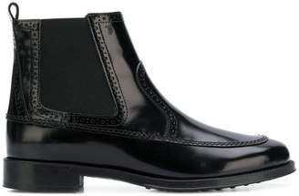 Tod's perforated trimmed ankle boots