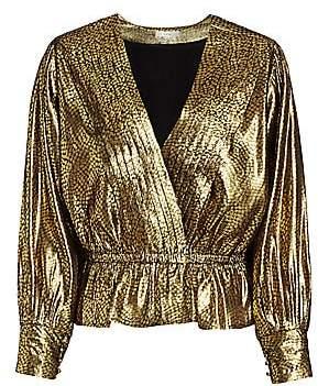 Joie Women's Nadeen Metallic Pleated Faux-Wrap Blouse