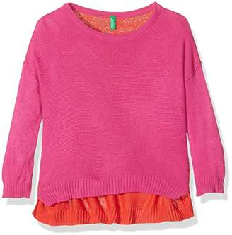 Benetton Girl's 1070Q1404 Jumper, Pink/Red, 1-2 Years (Manufacturer Size:1 Year)