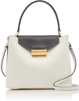Prada Two-Tone Textured-Leather Top Handle Bag