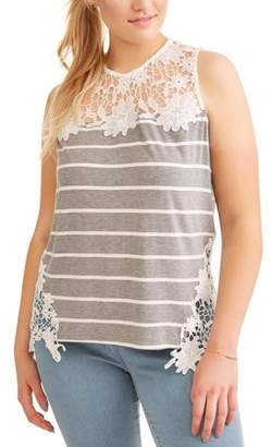 POOF-Slinky Junior's Plus Sleeveless Top with Embroidery Trim