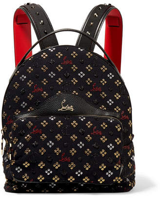 Christian Louboutin Backloubi Leather-trimmed Studded Canvas-jacquard Backpack - Black