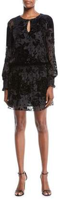 Parker Mindy Floral Velvet Keyhole Mini Dress