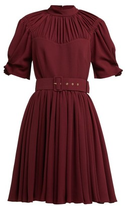 Emilia Wickstead Corinne Pleated Crepe Mini Dress - Womens - Burgundy