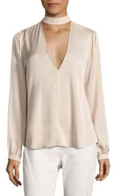 A.L.C. Liza Stretch-Silk Choker Top