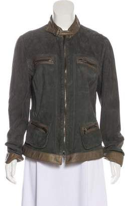 Armani Collezioni Suede Zip-Up Casual Jacket