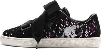 Suede Heart Embossed Women's Sneakers