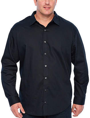 Van Heusen Easy Care Sateen Stripe Woven Long Sleeve Stripe Button-Front Shirt-Big and Tall