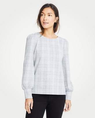 Ann Taylor Petite Plaid Puff Sleeve Sweatshirt