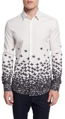 Versace Collection Gradient Star-Print Woven Sport Shirt, White Multi $395 thestylecure.com