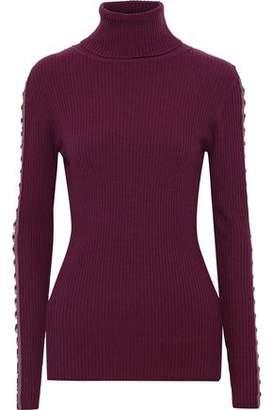 Autumn Cashmere Cutout Ring-embellished Ribbed Merino Wool-blend Turtleneck Sweater